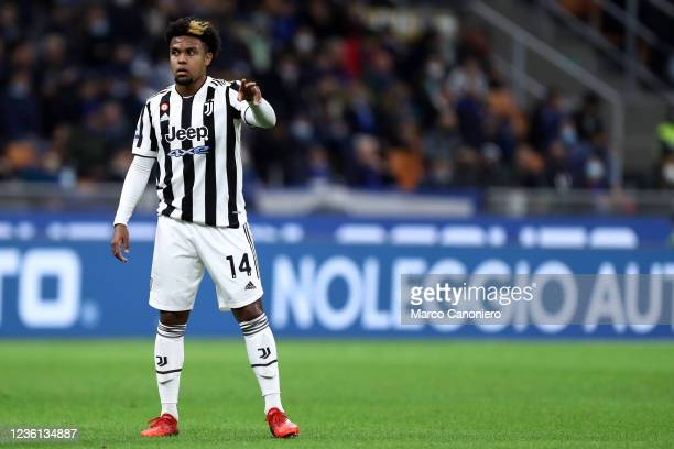 Weston McKennie of Juventus Fc gestures during the Serie A match between Fc Internazionale and Juventus Fc. The match ends in a tie 1-1.