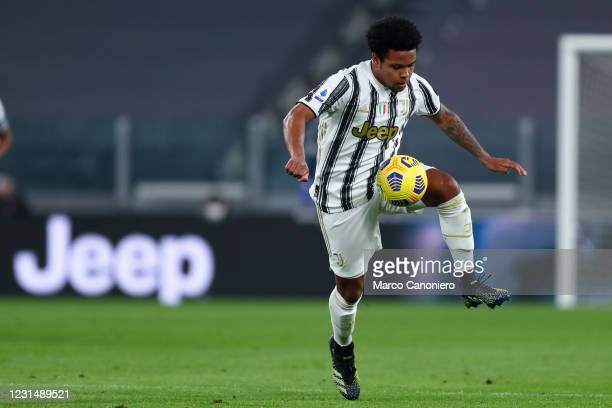 Weston McKennie of Juventus Fc in action during the Serie A match between Juventus Fc and Spezia Calcio. Juventus Fc wins 3-0 over Spezia Calcio.
