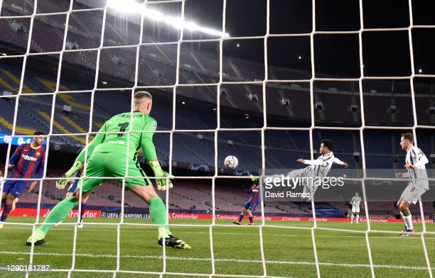 Weston McKennie of Juventus F.C. Scores his sides second goal past Marc-Andre Ter Stegen of Barcelona during the UEFA Champions League Group G stage...