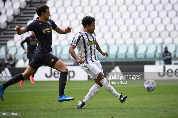 Weston McKennie of Juventus FC scores his team's third goal during the Serie A match between Juventus and Genoa CFC at Allianz Stadium on April 11,...