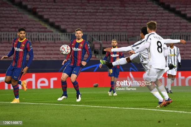 Weston McKennie of Juventus F.C. Scores their team's second goal during the UEFA Champions League Group G stage match between FC Barcelona and...