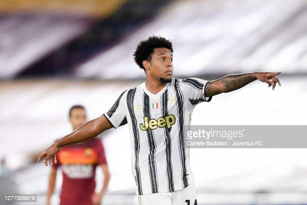 Weston McKennie of Juventus gestures during the Serie A match between AS Roma and Juventus at Stadio Olimpico on September 27, 2020 in Rome, Italy.