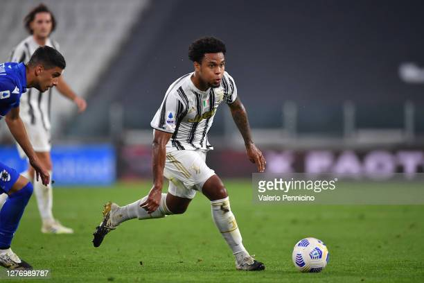 Weston Mckennie of Juventus in action during the Serie A match between Juventus and UC Sampdoria at Allianz Stadium on September 20, 2020 in Turin,...
