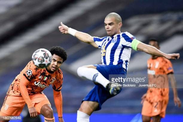 Weston McKennie of Juventus is challenged by Kepler Lima 'Pepe' of FC Porto during the UEFA Champions League Round of 16 match between FC Porto and...