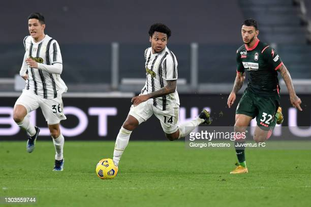 Weston McKennie of Juventus is challenged by Pedro Pereira of FC Crotone during the Serie A match between Juventus and FC Crotone at Allianz Stadium...