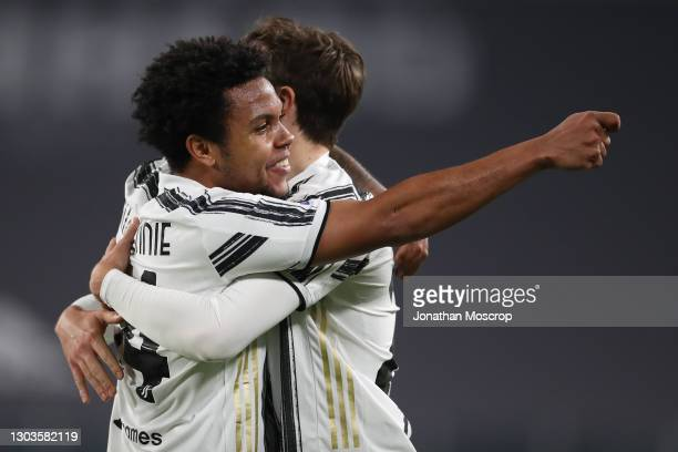 Weston McKennie of Juventus performs his Harry Potter magic wand celebration after scoring to give the side a 3-0 lead during the Serie A match...