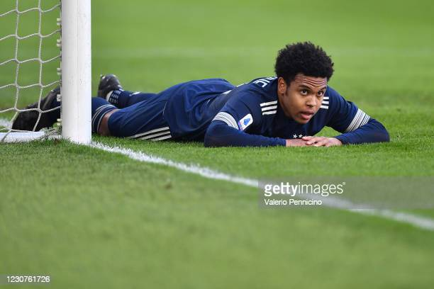 Weston Mckennie of Juventus reacts during the Serie A match between Juventus and Bologna FC at Allianz Stadium on January 24, 2021 in Turin, Italy.