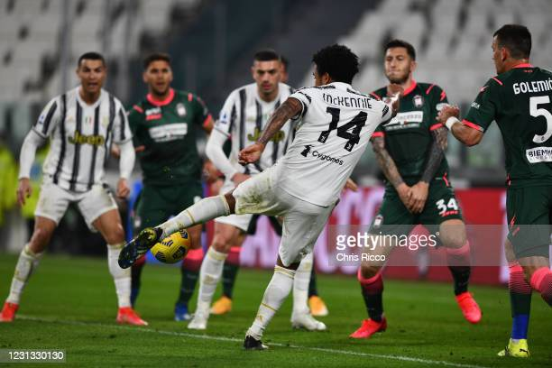 Weston McKennie of Juventus scores a goal during the Serie A match between Juventus and FC Crotone at Allianz Stadium on February 22, 2021 in Turin,...