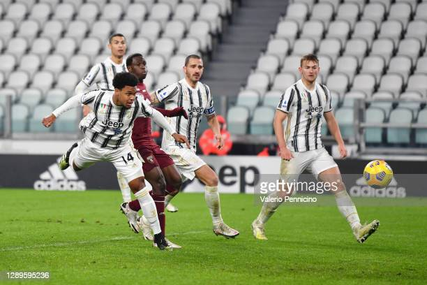 Weston McKennie of Juventus scores his team's first goal during the Serie A match between Juventus and Torino FC at Allianz Stadium on December 05,...