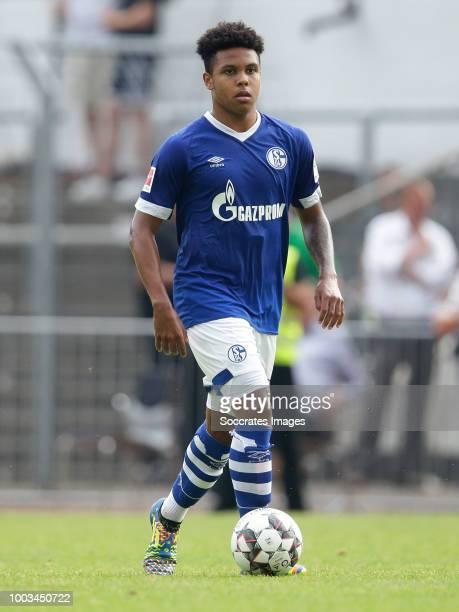 Weston McKennie of Schalke 04 during the Club Friendly match between Schalke 04 v Schwarz Weiss Essen at the Uhlenkrugstadion on July 21 2018 in...
