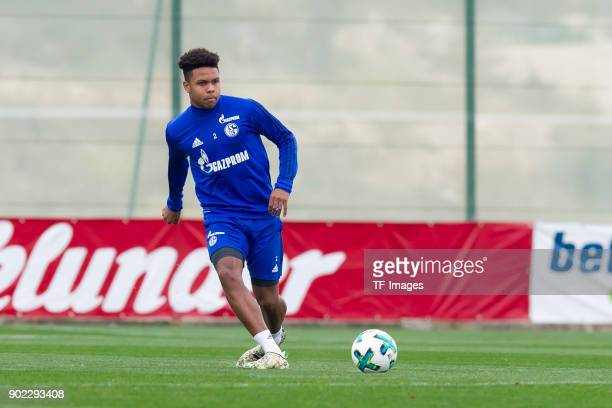 Weston McKennie of Schalke controls the ball during the FC Schalke 04 training camp at Hotel Melia Villaitana on January 06 2018 in Benidorm Spain