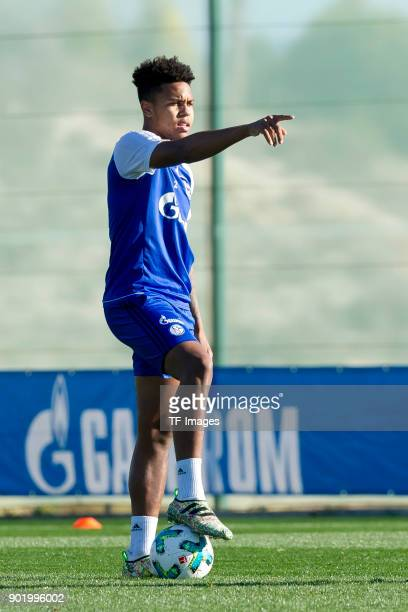 Weston McKennie of Schalke gestures during the FC Schalke 04 training camp at Hotel Melia Villaitana on January 05 2018 in Benidorm Spain