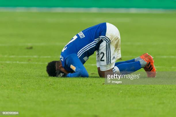 Weston McKennie of Schalke injured on the ground during the Bundesliga match between FC Schalke 04 and Hannover 96 at VeltinsArena on January 21 2018...