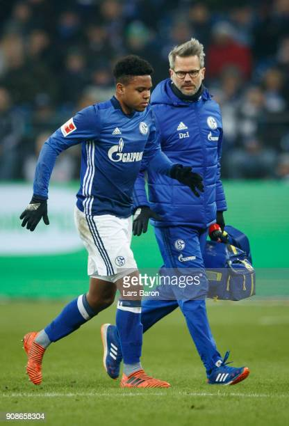 Weston McKennie of Schalke leaves injured the pitch during the Bundesliga match between FC Schalke 04 and Hannover 96 at VeltinsArena on January 21...