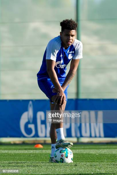 Weston McKennie of Schalke looks on during the FC Schalke 04 training camp at Hotel Melia Villaitana on January 05 2018 in Benidorm Spain