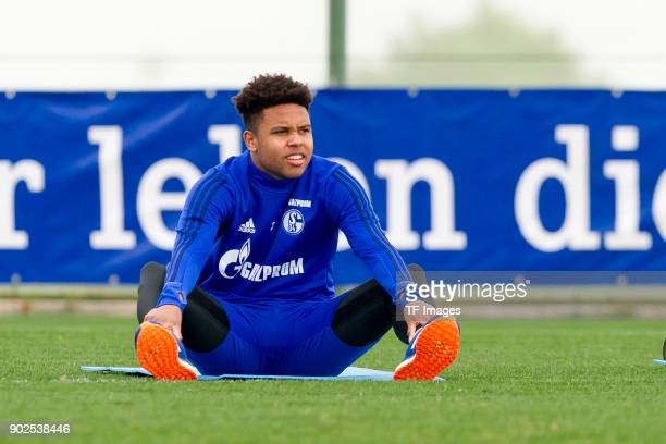 Weston McKennie of Schalke looks on during the FC Schalke 04 training camp at Hotel Melia Villaitana on January 06 2018 in Benidorm Spain