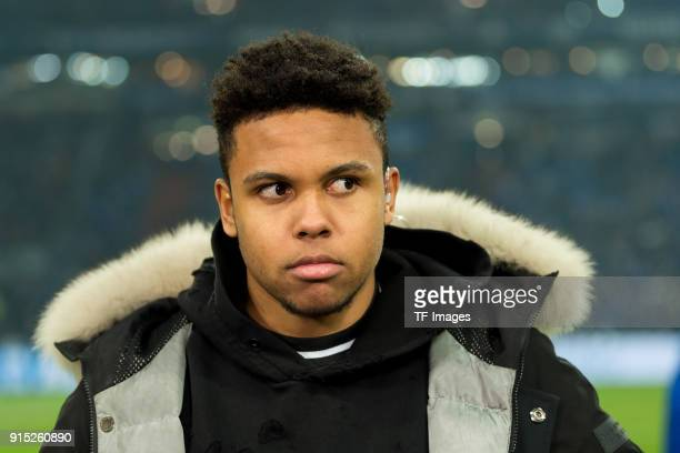 Weston McKennie of Schalke looks on prior to the Bundesliga match between FC Schalke 04 and SV Werder Bremen at VeltinsArena on February 3 2018 in...