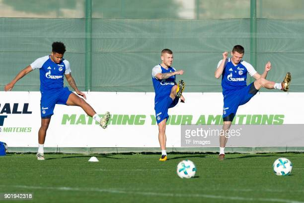 Weston McKennie of Schalke Max Meyer of Schalke and Fabian Reese of Schalke in action during the FC Schalke 04 training camp at Hotel Melia...