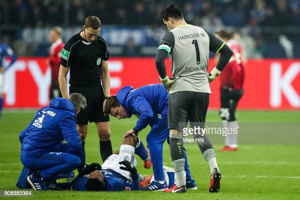 Weston McKennie of Schalke receives a medical treatment during the Bundesliga match between FC Schalke 04 and Hannover 96 at VeltinsArena on January...
