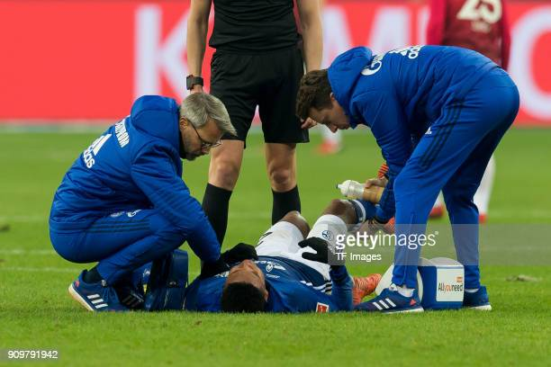 Weston McKennie of Schalke receives medical help during the Bundesliga match between FC Schalke 04 and Hannover 96 at VeltinsArena on January 21 2018...