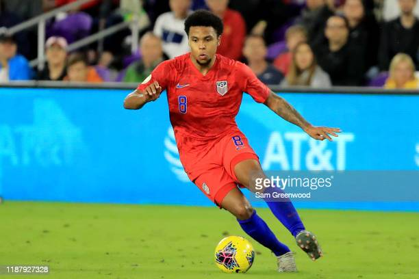 Weston McKennie of the United States looks to pass during the CONCACAF Nations League match against Canada at Exploria Stadium on November 15, 2019...