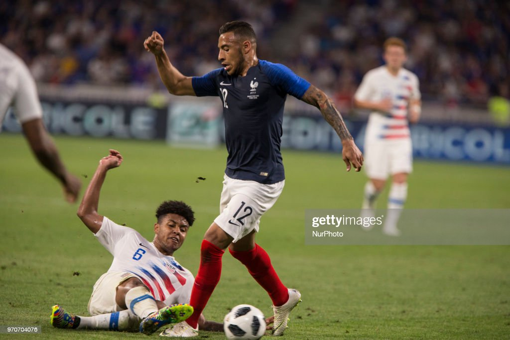 Weston McKennie (#6) of USA vies Corentin Tolisso (#12) of France of France during the friendly football match between France and USA at the at the Parc Olympique lyonnais stadium in Decines-Charpieu, near Lyon on June 9, 2018.