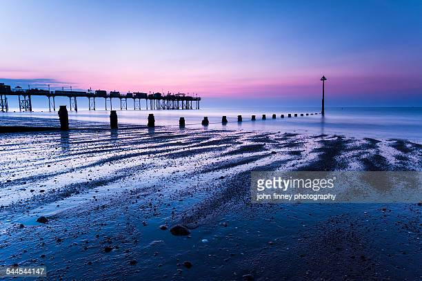 weston super mares grand pier at dawn - weston super mare stock pictures, royalty-free photos & images