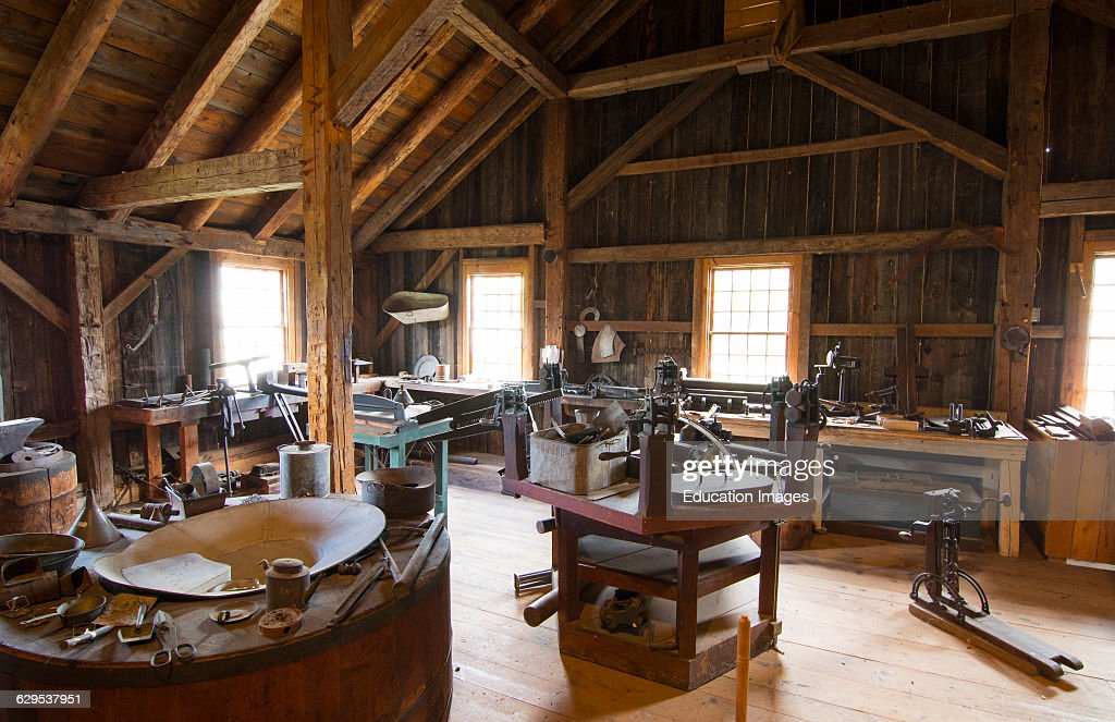 Weston Vermont, Old Mill Museum interior of saw mill upstairs tool shop : News Photo