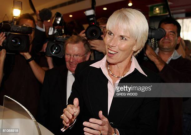 Westpac Bank Chief Executive Officer Gail Kelly and Chairman Ted Evans hold a photo opportunity in Sydney on May 13 2008 Australia's Westpac and St...