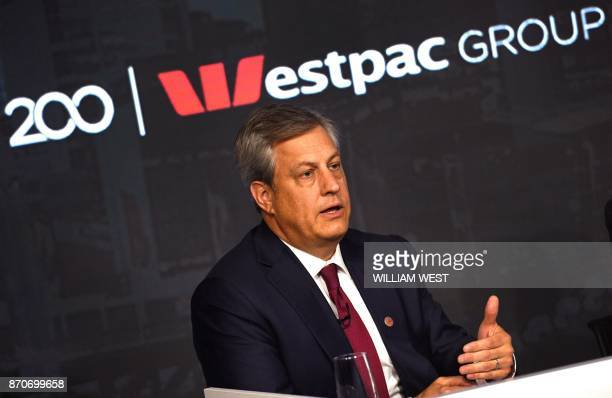 Westpac chief executive Brian Hartzer speaks during a press briefing after the company's full year results were announced in Sydney on November 06...