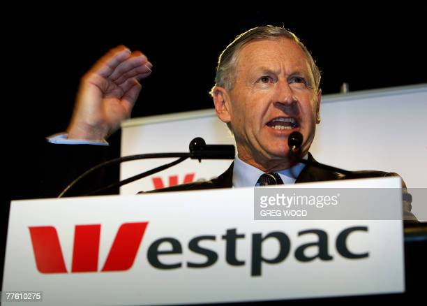 Westpac chief executive David Morgan gestures as he delivers company fullyear results in Sydney 01 November 2007 Australia's Westpac Bank posted a...
