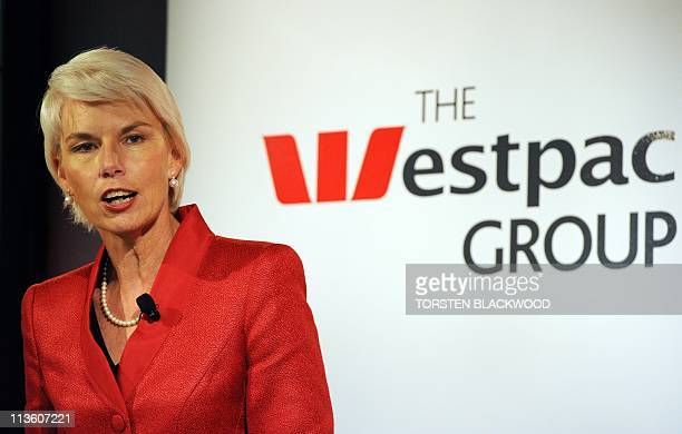 Westpac chief executive Gail Kelly announces that first half profits soared 38 percent to a record 290 billion USD during a press conference in...