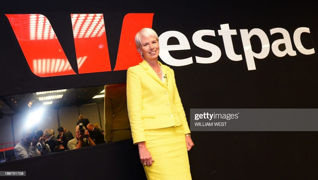 Westpac Chief Executive Gail Kelly arrives at a press briefing in Sydney on November 4, 2013, after the Australian banking giant posted a 14 percent jump in full-year net profit with all core divisions performing well, capping a bumper year for the country's major lenders. The result in the 12 months to September 30 came in at Aus$6.82 billion (US$6.44 billion), compared with Aus$5.97 billion the previous year. AFP PHOTO/William WEST