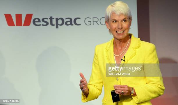 Westpac Chief Executive Gail Kelly speaks during a press briefing in Sydney on November 4 after the Australian banking giant posted a 14 percent jump...
