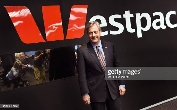 Westpac chief executive officer Brian Hartzer arrives for a media briefing as the Australian banking giant recorded a full year cash profit of 782...