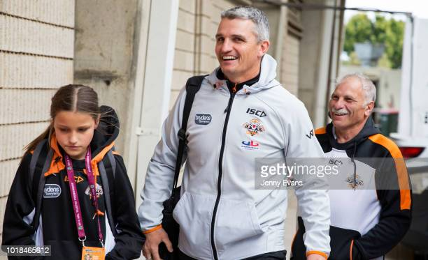 Wests Tigers coach Ivan Cleary poses for a picture as he arrives at the ground with his daughter Milaya ahead of the round 23 NRL match between the...