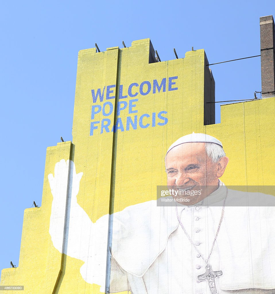 A westside building mural of Pope Francis is almost complete in midtown Manhattan on September 2, 2015 in New York City.