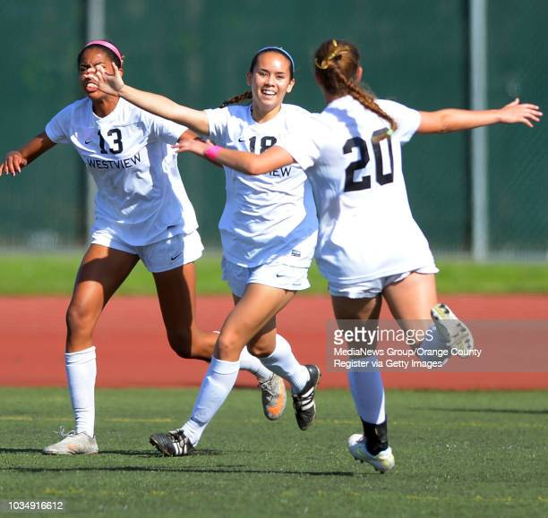 Westview's Angel Meriwether center celebrates her 1st half goal in the 2014 CIF SoCal Regional Soccer Championships at Warren High in Downey CA on...