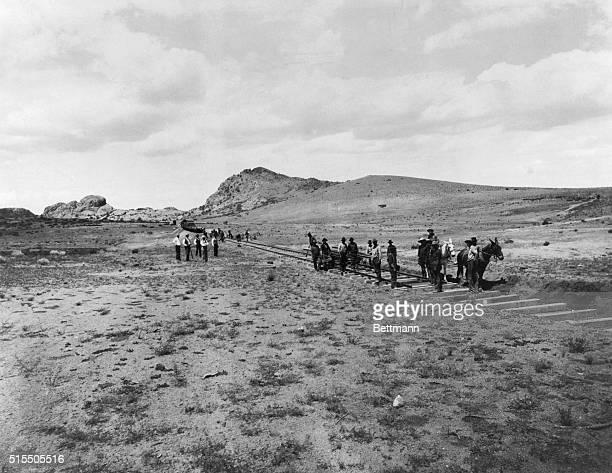 Laying tracks in Arizona Territory ca 1898 for Prescott and Eastern Railroad