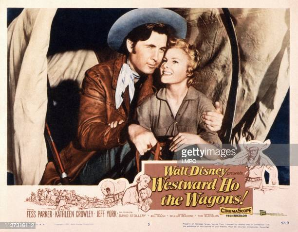 Westward Ho THE WAGONS US lobbycard from left Fess Parker Kathleen Crowley 1956
