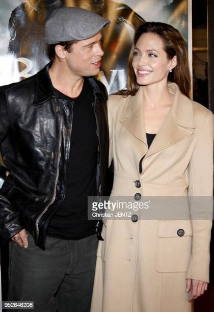 Westwood Brad Pitt and Angelina Jolie attend the Los Angeles Premiere of 'Beowulf' held at the Mann Village Theater in Westwood California United...