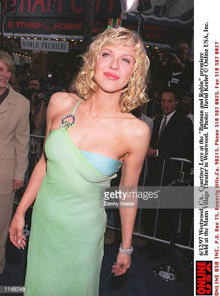 Westwood CA Courtney Love at the Batman and Robin premiere held at the Mann Village Theater in Westwood