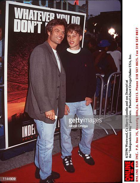 WestWood Ca Harry Hamlin and son Dimitri at the 'Independence Day' Premiere