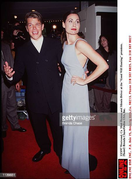WestWood Ca Matt Damon and Minnie Driver at the movie premiere of Good Will Hunting