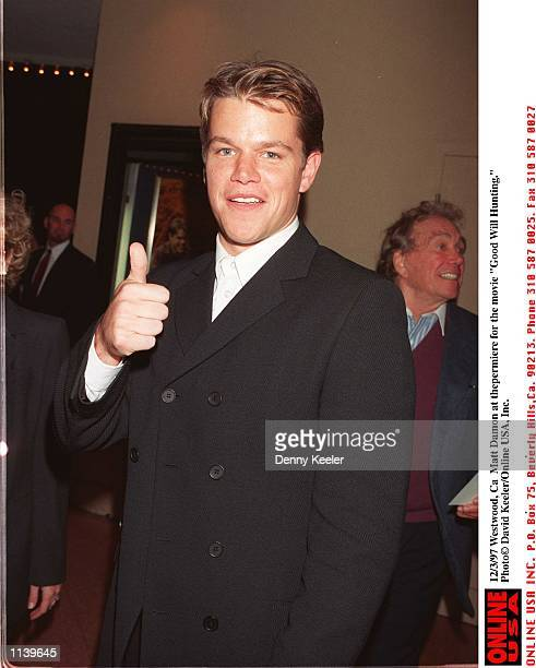"""WestWood, Ca Matt Damon at the premiere of the movie """"Good Will Hunting."""""""
