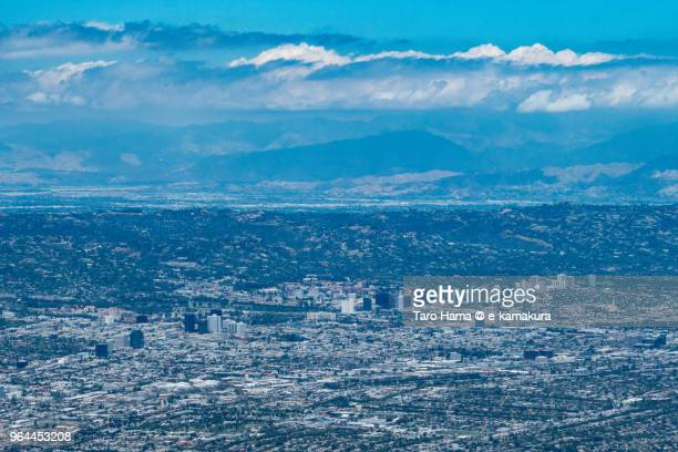 Westwood in Los Angeles daytime aerial view from airplane