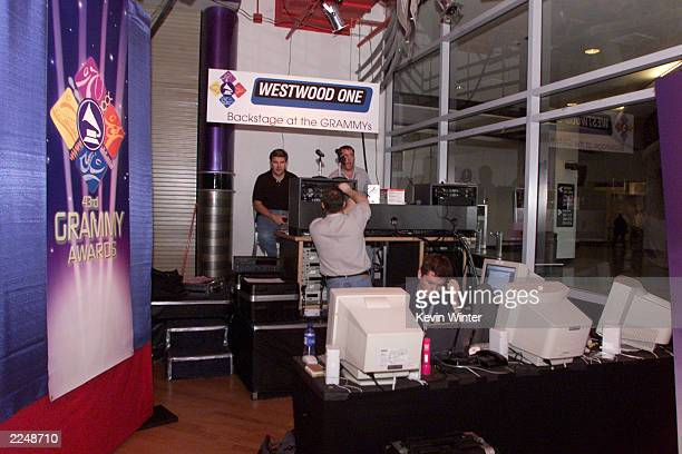 Westwood One area is prepared in the Web Central area for the Grammys at Staples Center in Los Angeles Sunday Feb 18 2001 Photo by Kevin Winter/Getty...