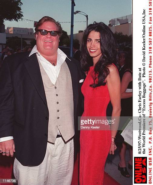 8/25/97 WestwoodCa Chris Farley with Date at the World Premiere of 'Excess Baggage'