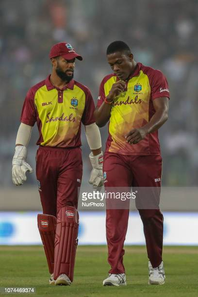 Wesy Indies wicket keeper Shai Hope talking with during the second T20 match between Bangladesh against West Indies in Mirpur Dhaka Bangladesh on...