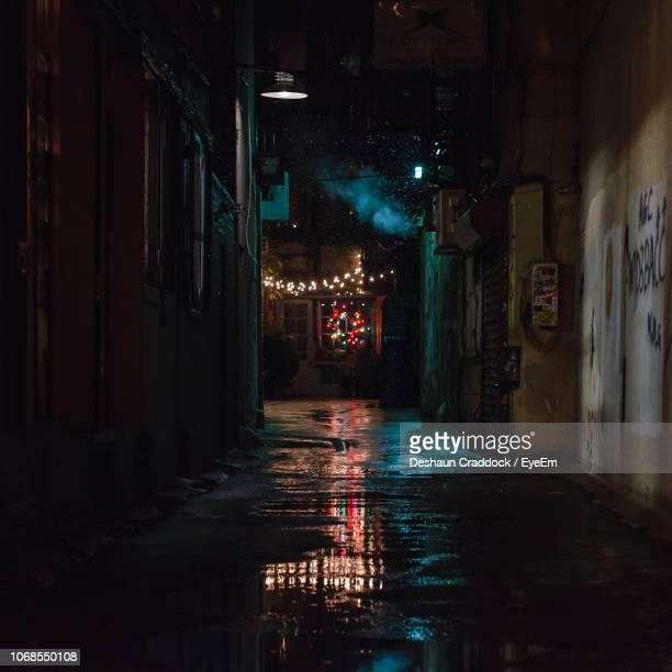 wet alley amidst buildings at night - alley stock pictures, royalty-free photos & images